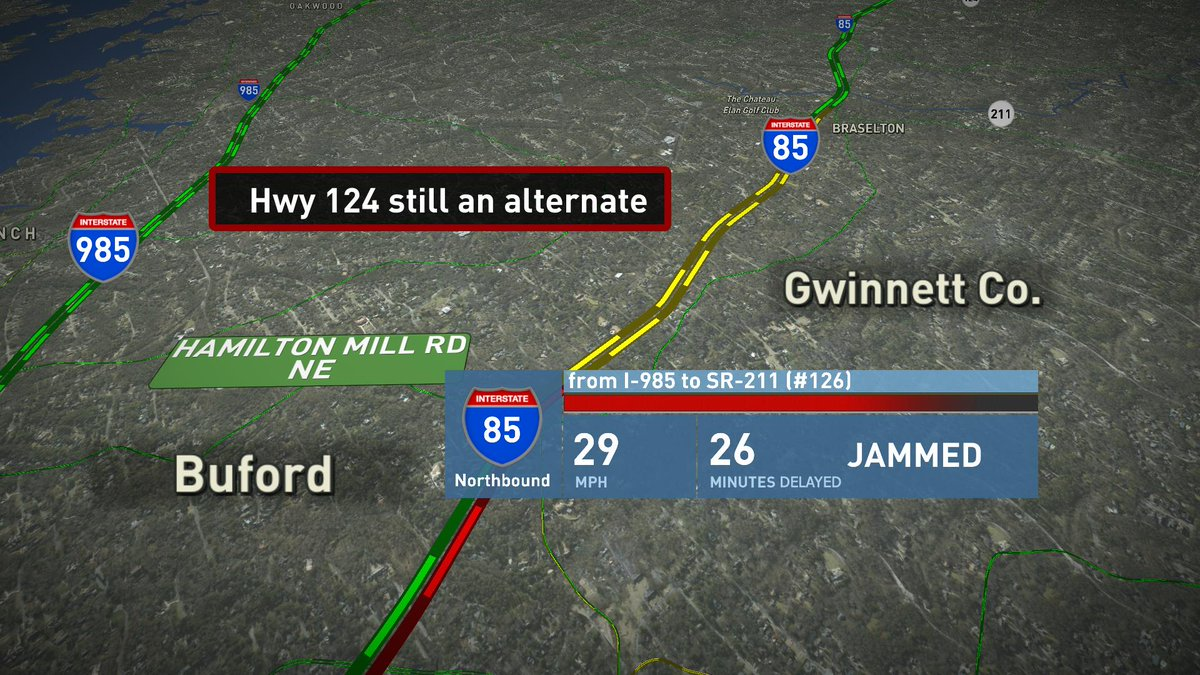 TT wreck clearing I-85 NB at Hwy 211 sits off to the right but delays from I-985  #MorningRushATL https://t.co/mWIsftHzgU