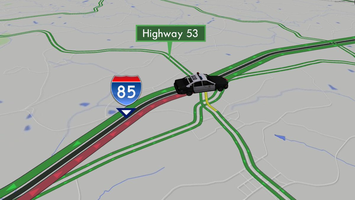 DO NOT GET ON I-85/nb north of Buford Drive. 14 miles of delays up to trouble at Highway 53. USe 124. #ATLtraffic https://t.co/e0Om4tnQIz