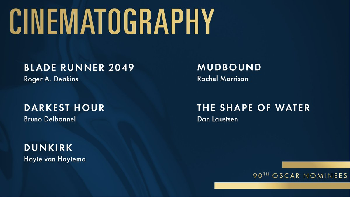 RT @TheAcademy: Congrats to our Cinematography nominees! #Oscars #OscarNoms https://t.co/TAFscg63Qv