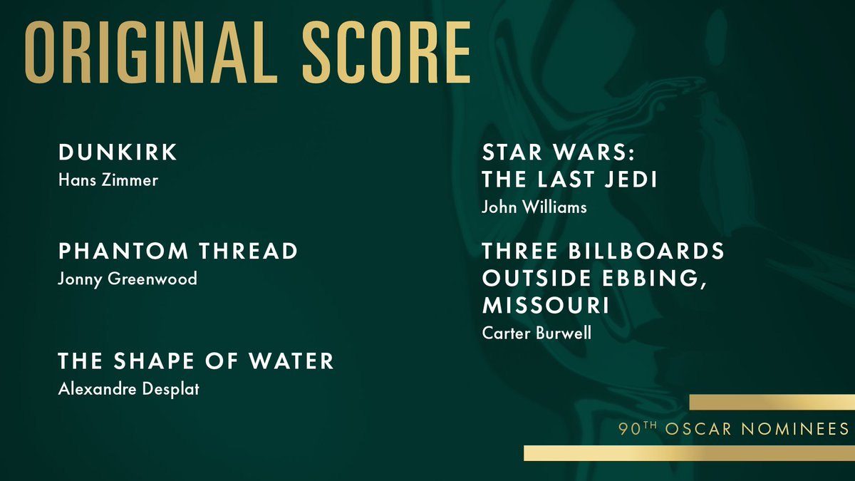 RT @TheAcademy: Congrats to our Original Score nominees! #Oscars #OscarNoms https://t.co/oxQStVb5PS