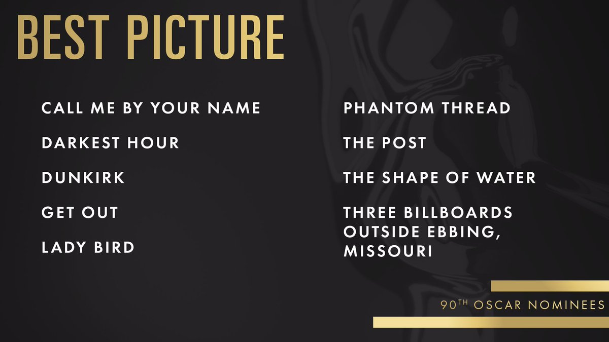 RT @TheAcademy: Congrats to our Best Picture nominees! #Oscars #OscarNoms https://t.co/xtA8OaUemp