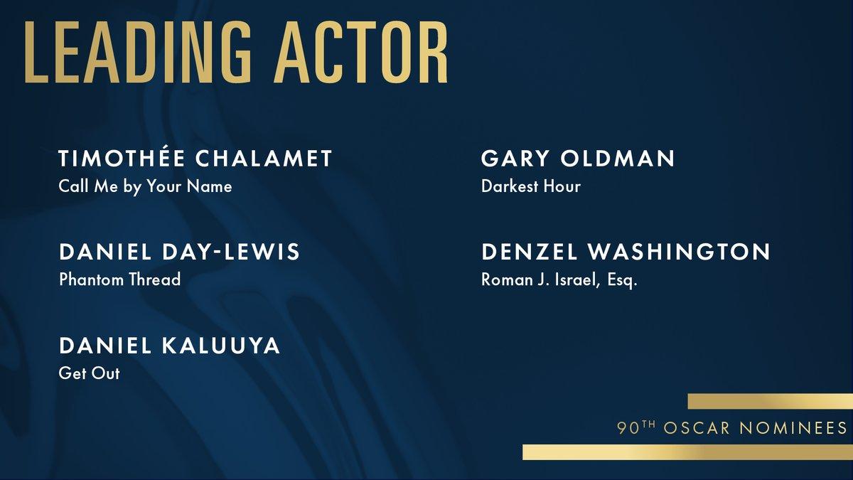 #Oscars2018 Estos son los nominados para #MejorActorProtagonico #OscarNoms https://t.co/Pgj6rhFvtP