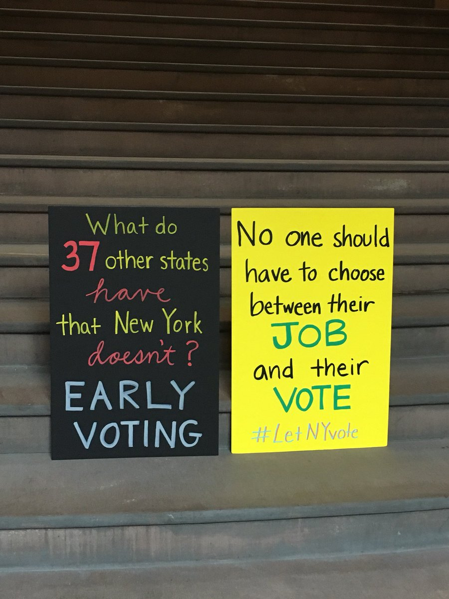 Some of the many signs at today's press conference calling for funding for #EarlyVoting for NYS. #LetNYVote https://t.co/50rgqv4KN7