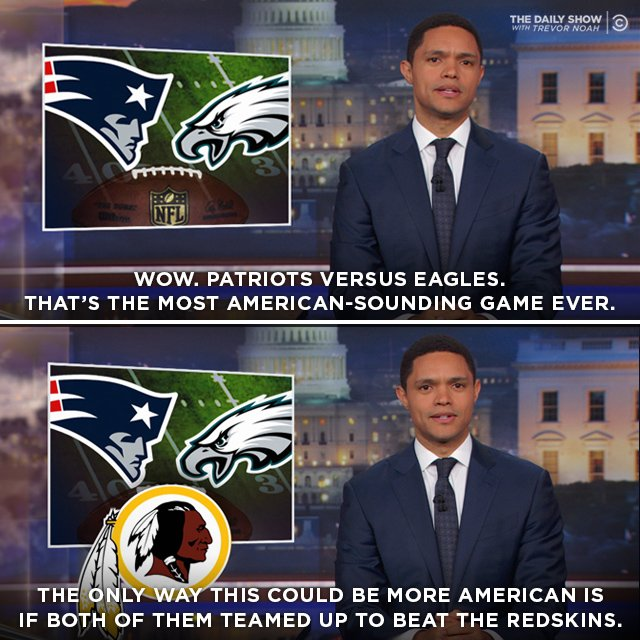 RT @TheDailyShow: Could the Super Bowl be any more American? https://t.co/BMuI32QRgv https://t.co/8VHhAUGjpp