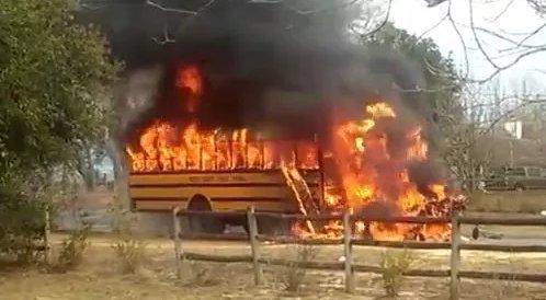 Students escape school bus fire in Grand Bay