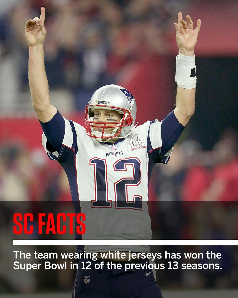 RT @SportsCenter: The Patriots will wear their road white jerseys in Super Bowl LII against the Eagles. #SCfacts https://t.co/6mkzErmJcy