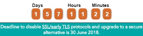test Twitter Media - The SSL/early TLS migration deadline is 30 June 2018. To remind the industry of this important deadline we have launched a countdown clock on our homepage: https://t.co/W0tOny8spb https://t.co/ClJPNFQQs6