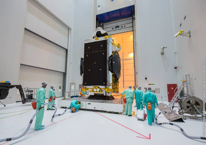 Two commercial communications satellites for SES and Yahsat have been installed on top of an Ariane 5 rocket for liftoff Thursday from French Guiana. https://t.co/z7cnHiJ3ER https://t.co/At5eyFCFwu