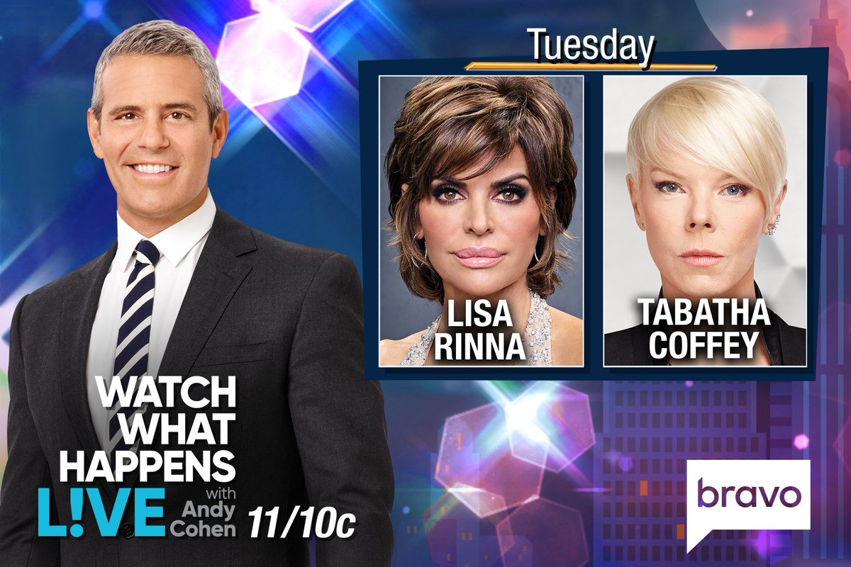 RT @BravoWWHL: TONIGHT at 11/10c we're LIVE w/ @lisarinna & @tabathacoffey! Tweet @Andy your questions! https://t.co/zoVOGGXazN