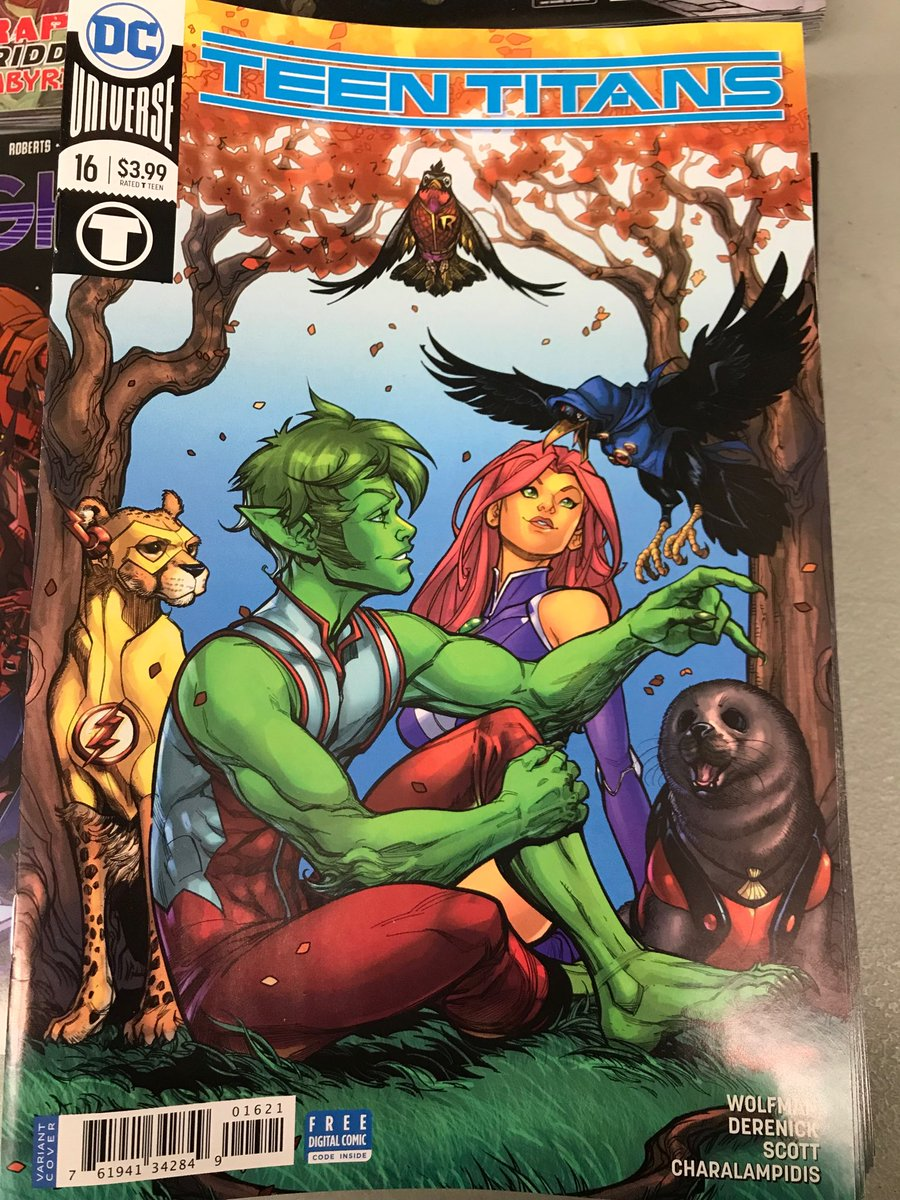 This cover is just precious! I want a print of it! #comics Teen Titans 16 comes out tomorrow y'all #lcbs https://t.co/0IQOvmqLDM