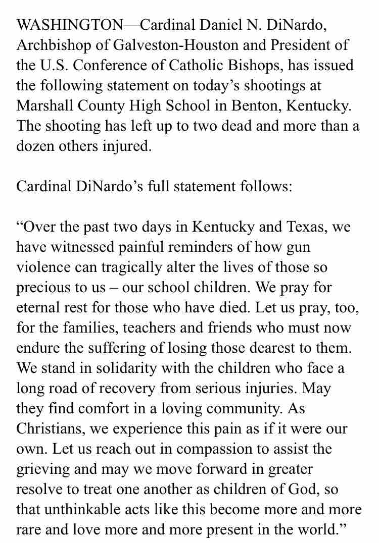 test Twitter Media - President of U.S. Bishops Conference Response to Kentucky High School Shooting: https://t.co/yM0BawmF3r https://t.co/VRYGOmPuyZ