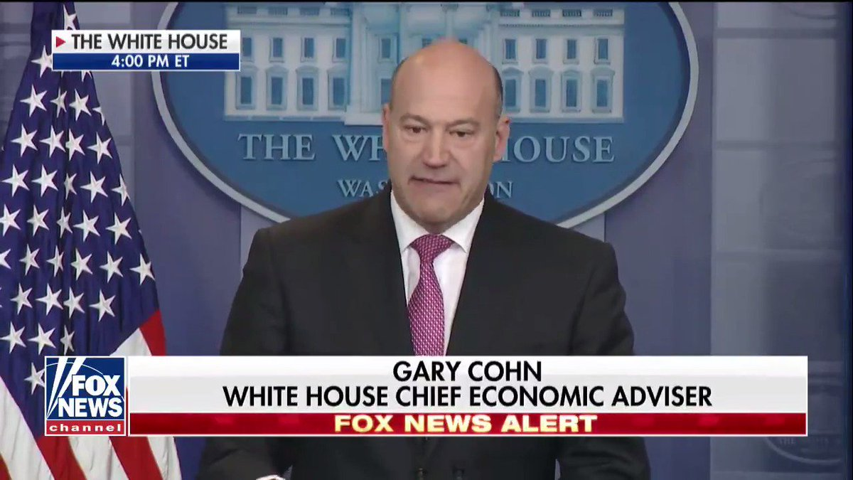 'I'm here today, and I'm here  gary cohn