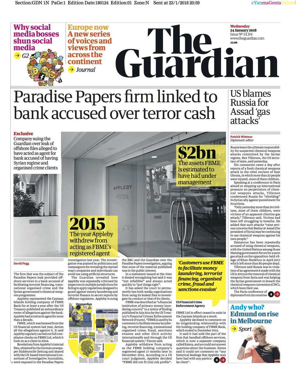 The Guardian front page, Wednesday 24 January 2018: Paradise Papers firm linked to bank accused over terror cash https://t.co/PEJVvgG2xI