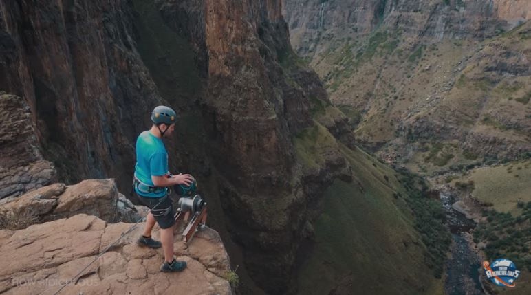 Vloggers nail world's highest basketball shot at Lesotho waterfall