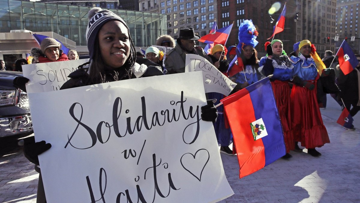 Haitians march in Boston against Trump's immigration policies