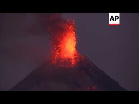 Philippines' volcano spews fountains of lava