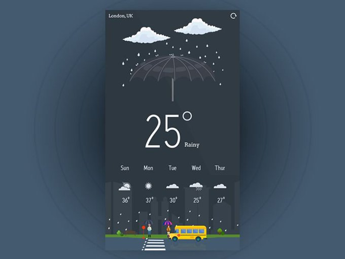Weather App by Ashif Khan freebie