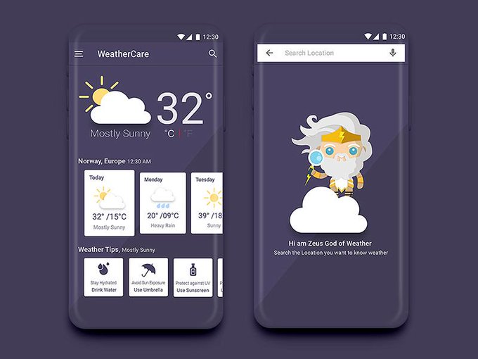 Weather App Concept by siranjeevijs freebie
