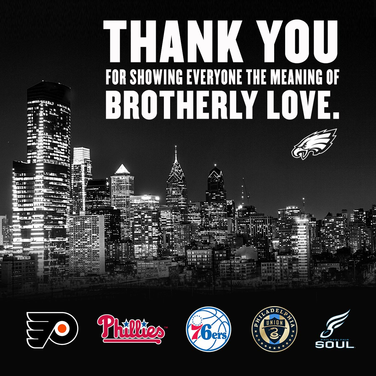 #BrotherlyLove   @NHLFlyers | @Phillies | @sixers | @PhilaUnion | @soulfootball https://t.co/DosmRNiBiE
