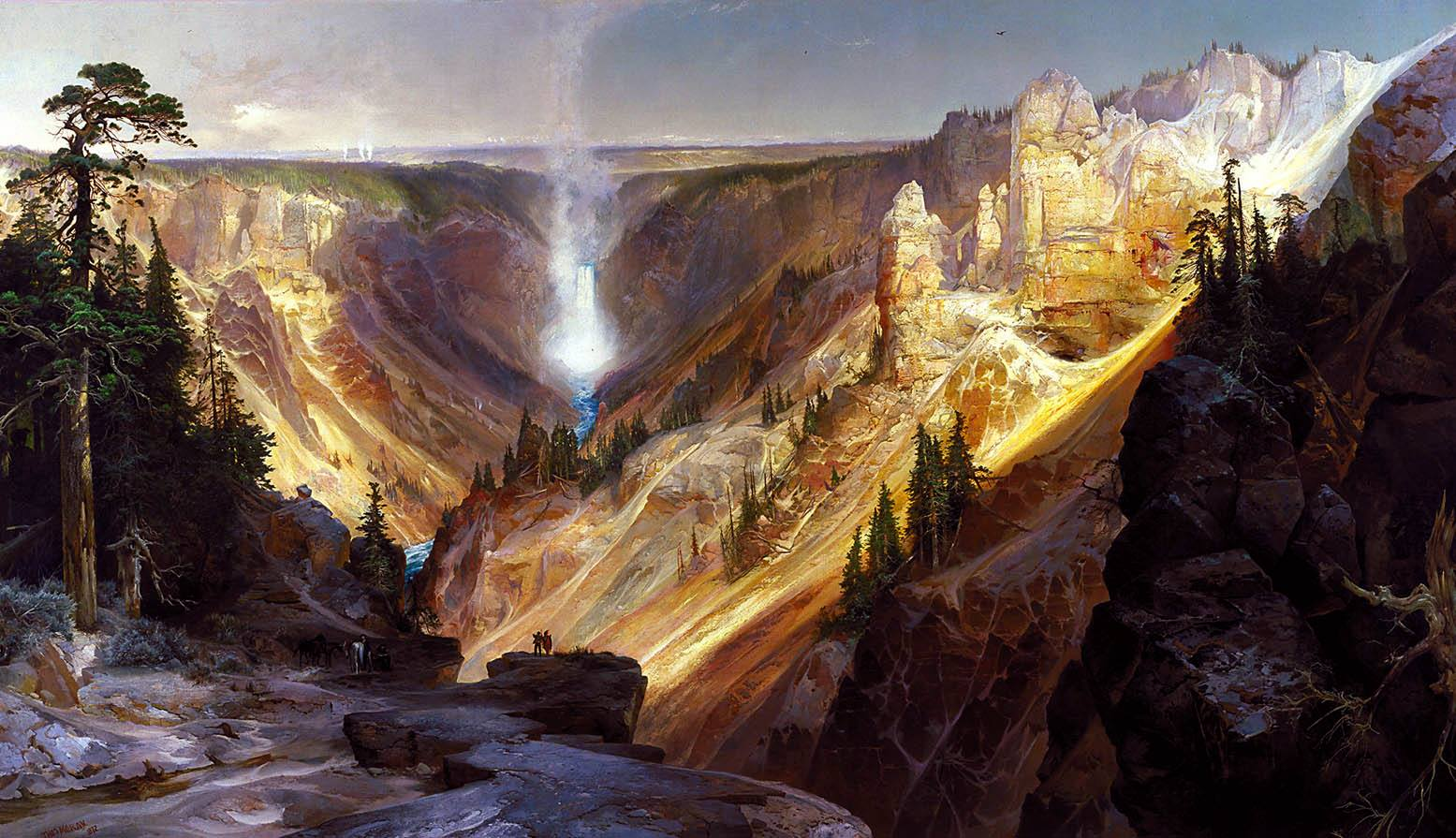 #OnThisDay in 1837 famed landscape painter Thomas Moran was born. Moran's  paintings captured landscapes unknown then to a predominantly eastern US  population and helped bring back glimpses of the treasures that Yellowstone held after the Hayden Expedition in 1871. https://t.co/35QOZIkzGO