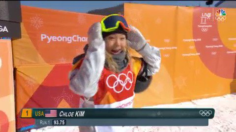 RT @NBCOlympics: Chloe Kim has thrown down the HAMMER with her first run. #WinterOlympics https://t.co/D65Nuoyydu https://t.co/r6UJ7df38X