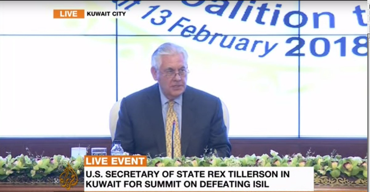 LIVE: US Secretary of State Rex Tillerson addresses Kuwait summit on defeating ISIL in Iraq