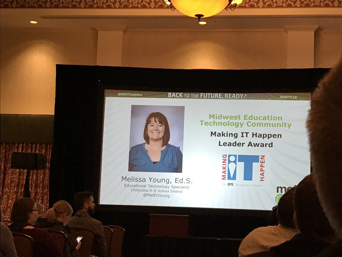 Congratulations to @MelDYoung from  @ChillicotheR2 for being honored with the Making IT Happen award at #METC18 @METCedplus https://t.co/QOPwGsMKD8