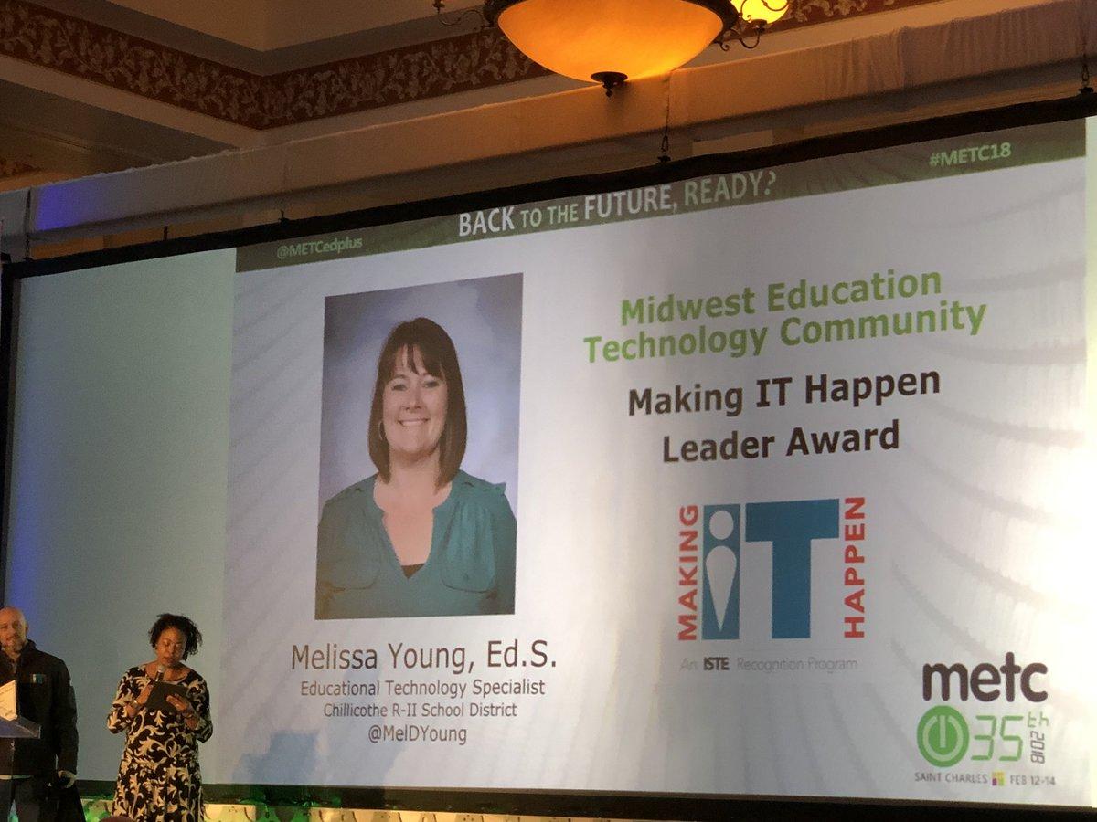 Making IT Happen Leader Award winner - Chillicothe's own @MelDYoung #hornetsr2 @ChillicotheR2 #METC18 https://t.co/Z9XqzjjWuu