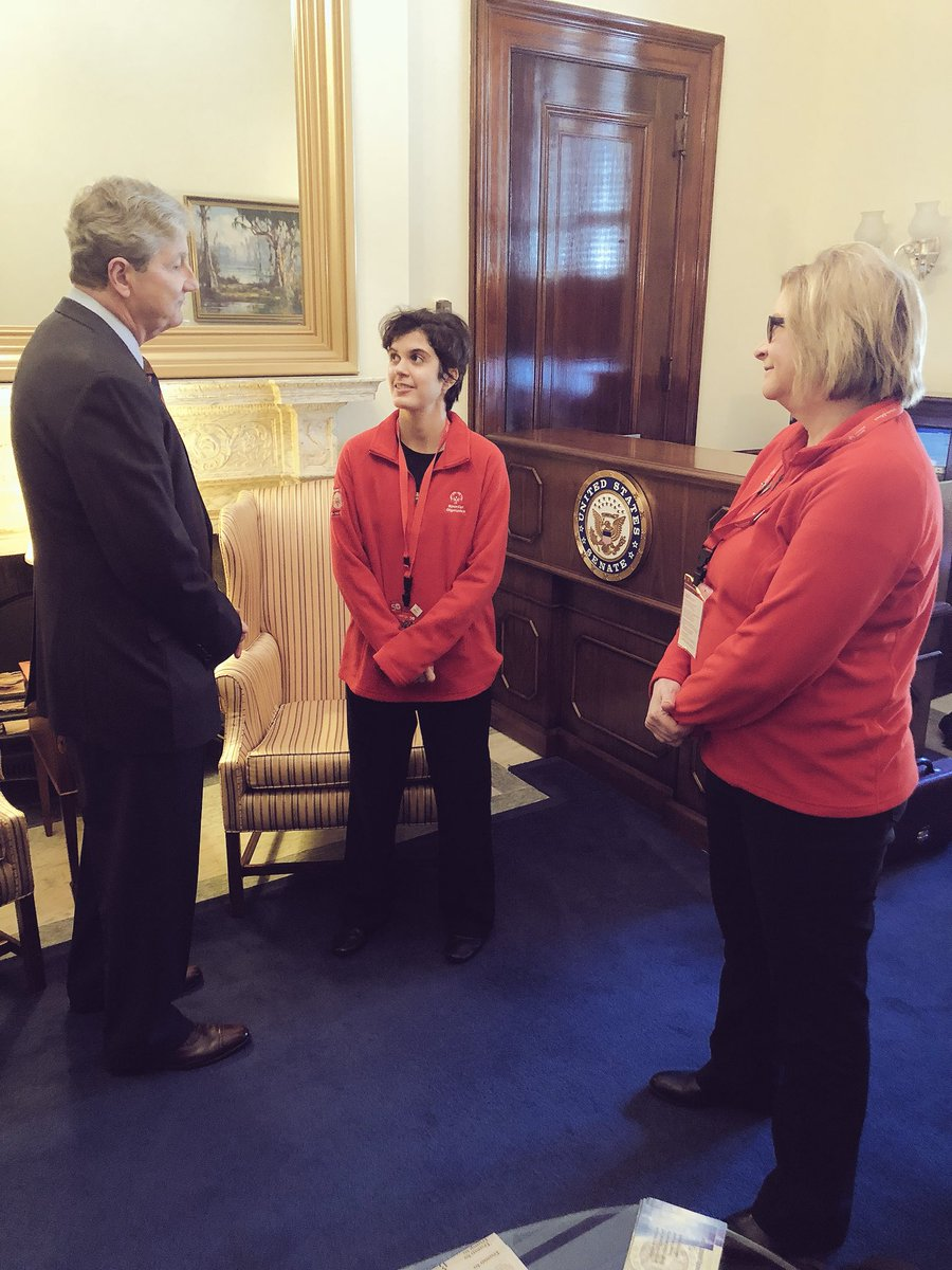Just met with @SenJohnKennedy to advocate support for Special  Olympics Louisiana! Thank you for your support! #SOHillDay 2018 #specialolympicslouisiana https://t.co/cIDbY3oXpo