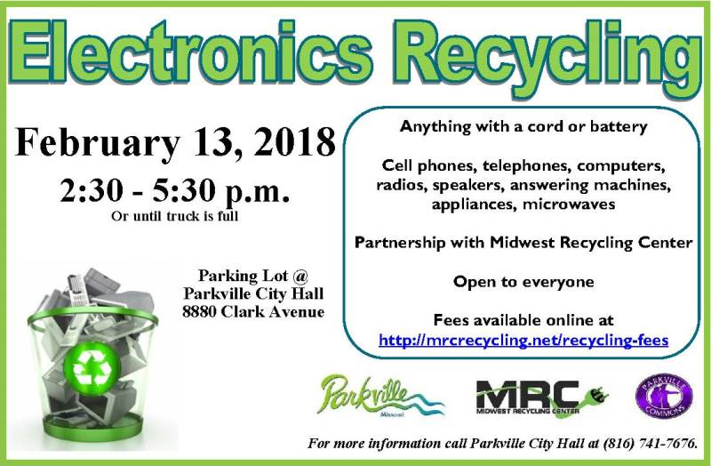 test Twitter Media - Need to get rid of old electronics? Stop by @parkvillemo City Hall (8880 Clark Ave) today from 2:30-5:30 (or until truck is full) to recycle anything with a cord or battery. This event is open to everyone! https://t.co/qFuXvjn9Jc