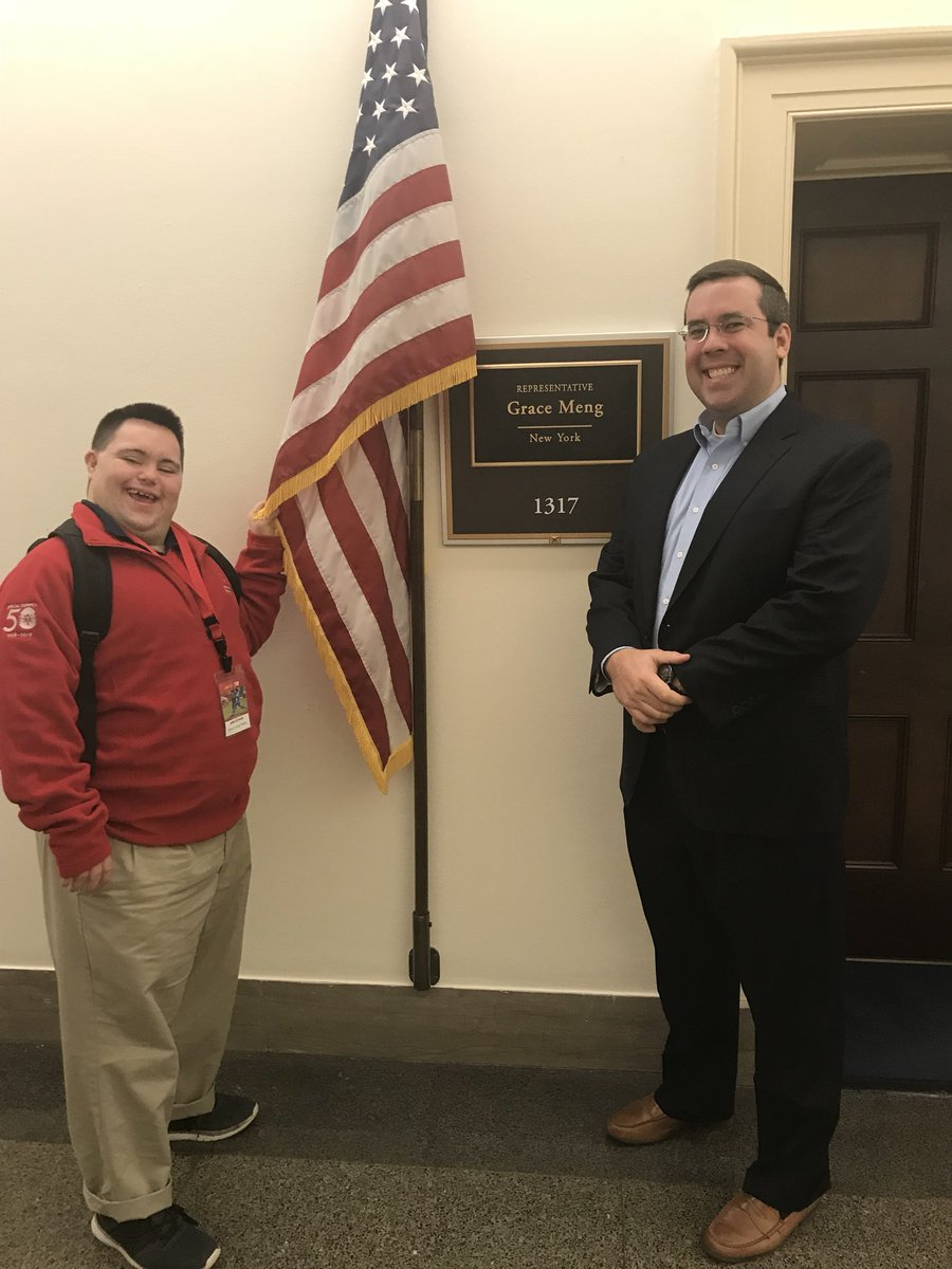 1st meeting of the day with David of @RepGraceMeng's office! Thanks for the continuous support! @SpecialOlympics @SONYinfo #SOHillDay https://t.co/wpWiClvpXn