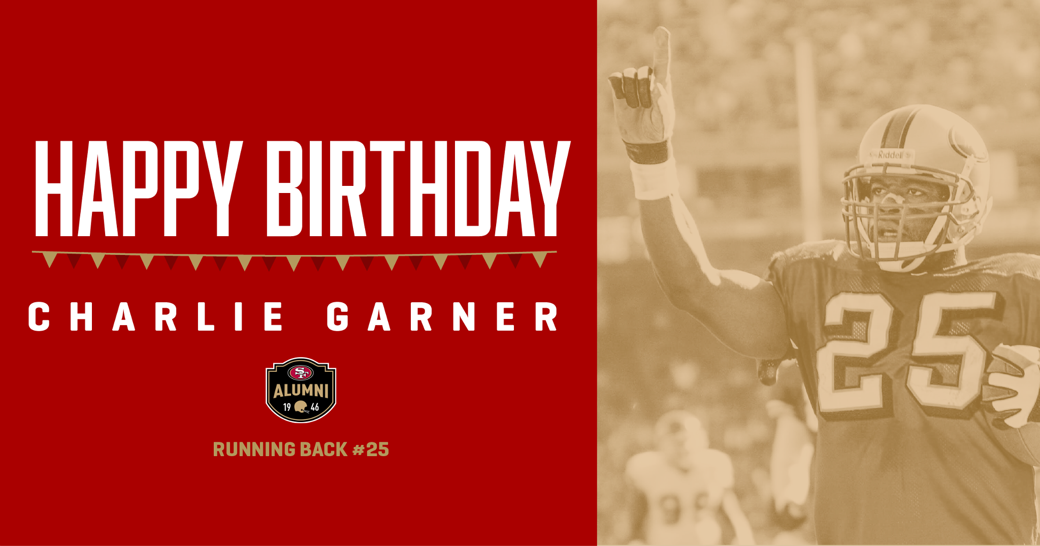 Join us in wishing Charlie Garner a happy birthday!   The former #49ers RB was a Pro Bowler in red & gold in 2000. https://t.co/CCLZ2In9rn