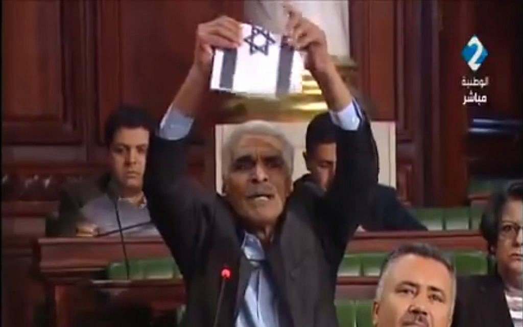 Tunisian MP rips up Israeli flag in push for bill to criminalize ties
