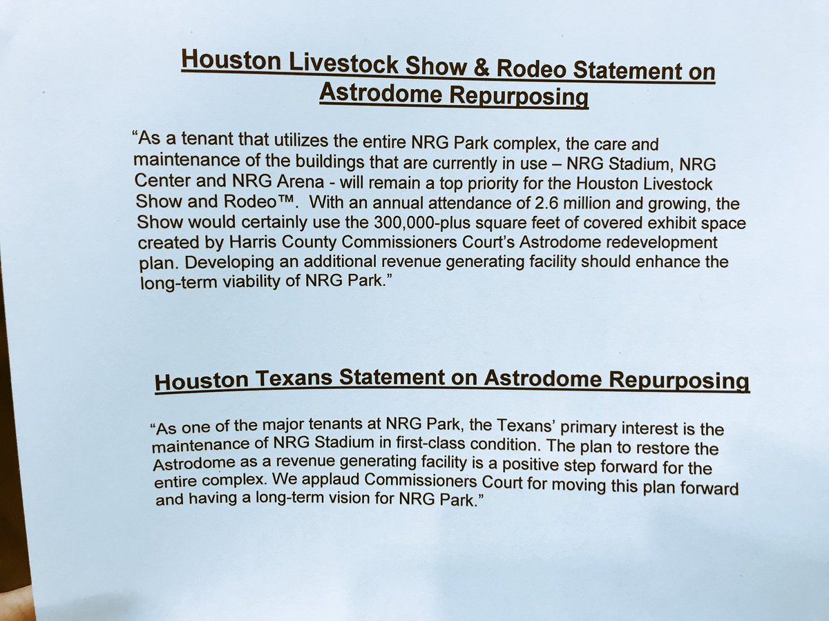 #UPDATE: @RODEOHOUSTON and @HoustonTexans release statements on plan to renovate #Astrodome. @KPRC2 https://t.co/WxbyVWRWHq