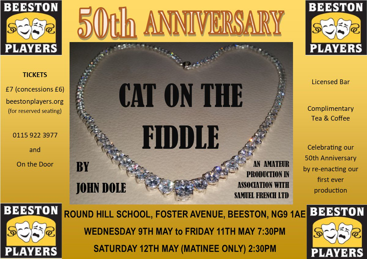 test Twitter Media - @BeestonPlayers Cat on the Fiddle May 9,10,11 & 12. Tickets at https://t.co/iwQB84OaZI   #Drama #NG9 #Beeston https://t.co/O5fBTz7My7