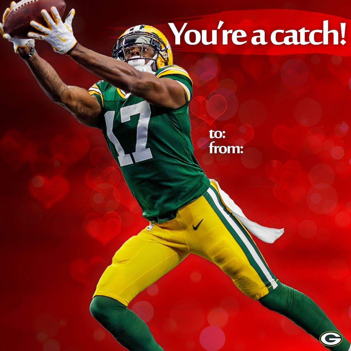 Give your Valentine a #Packers-themed card!   ����: https://t.co/4U5HZK45ta https://t.co/DesYOoCBZQ