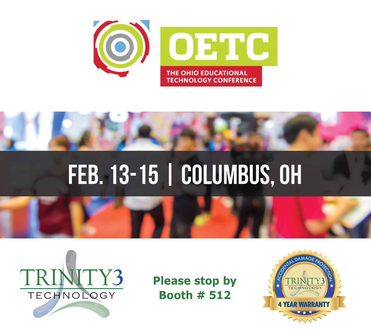 We will be at #OETC18 February 13th-15th at booth #512! Come and say hi to Erica and learn what Trinity3 has to offer! @OhioEdTech #techtuesday https://t.co/qLzXLfL1bo