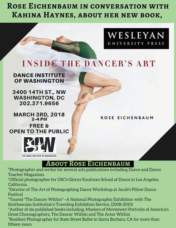 test Twitter Media - Don't miss your chance to meet Rose Eichenbaum, especially if you are interested in dance, dance photography, artistic portraiture, or action photography. She'll be in conversation with the executive director of the Dance Institute of Washington (DC) on March 3rd. https://t.co/mnpfkowucI