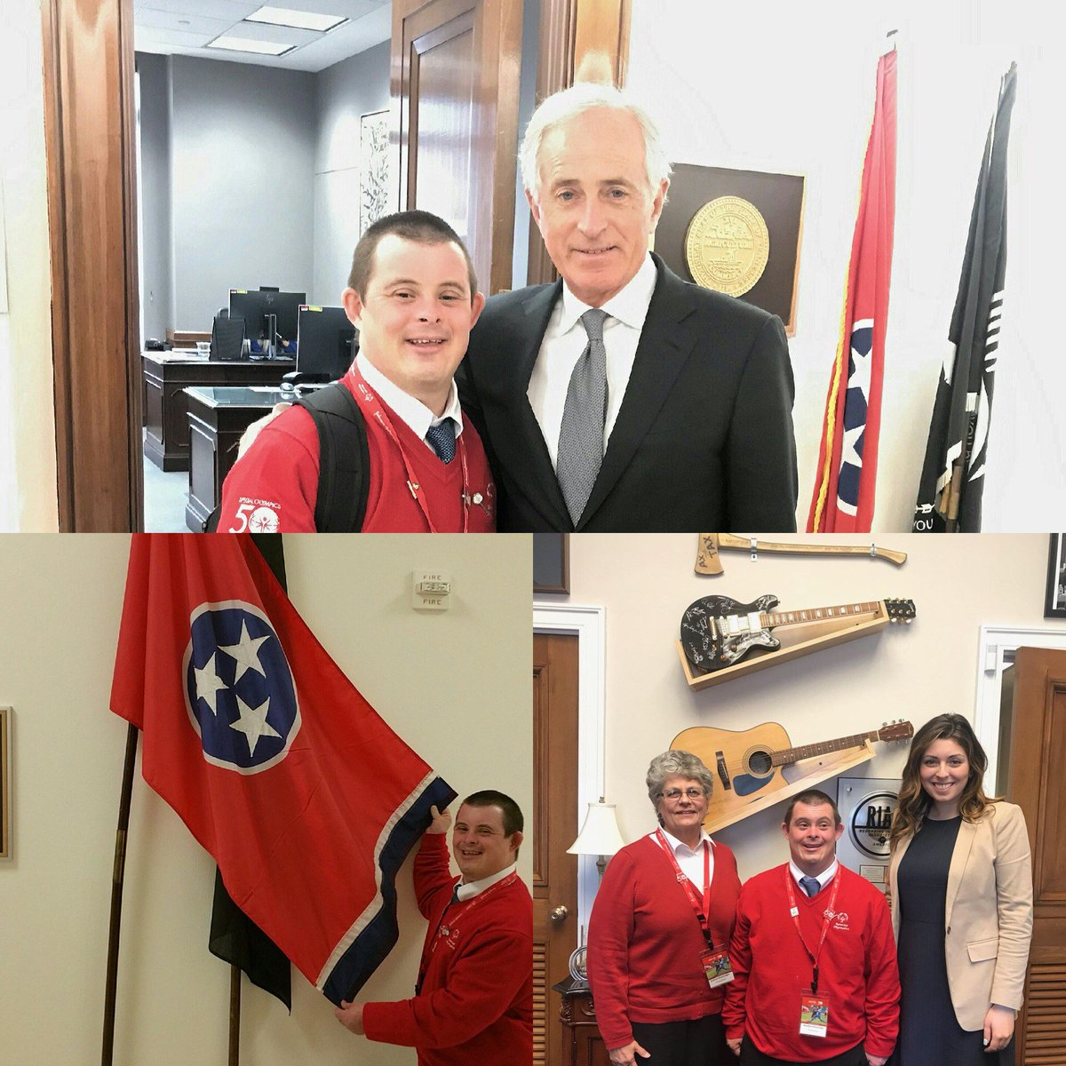 We are grateful for @SOTennessee representatives @SenBobCorker & staffer Melissa Wardell with @MarshaBlackburn for taking time for Matthew Drumright to speak on the work of @SpecialOlympics to understand the importance and power of inclusion! #SOHillDay https://t.co/qaKNAuwLc3