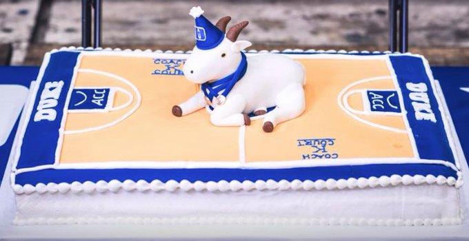 A cake fit for a legend. Happy birthday to the GOAT, Mike Krzyzewski.