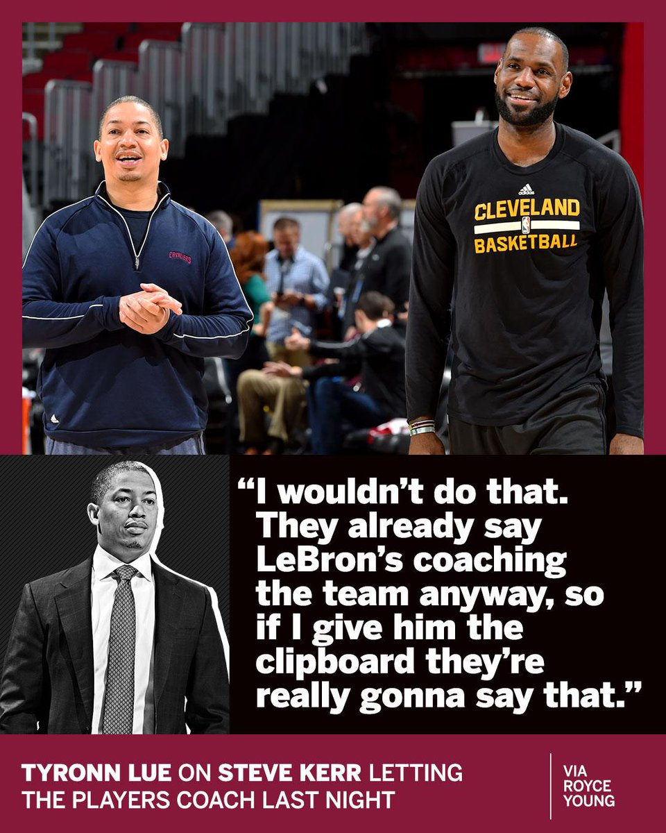RT @espn: Ty Lue will NOT be passing the clipboard to LeBron 😂 https://t.co/TaW7q0JJZu