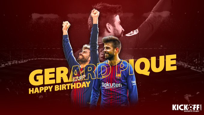 Barcelona s centre-back Gerard Pique turns 31 today. Join in wishing him a Happy Birthday!