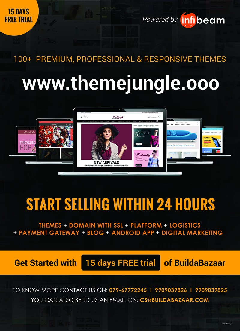 test Twitter Media - Just start selling online. Become website ready with BuildaBazaar in just 24 hours. Choose from free themes from ThemeJungle and sell everywhere effortlessly with 15 days trial. https://t.co/B08StDIRRK #infibeam #buildabazaar #themejungle #ecommercetheme https://t.co/fvsOwfuTzC