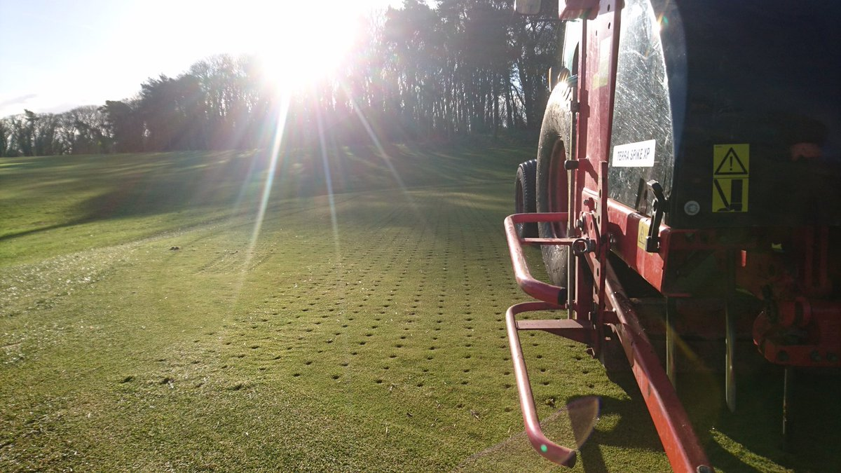 test Twitter Media - And Exhale   Opening up our two problem greens 2nd and 15th. Verti Draining these greens to get air into them and dry them out. This should alleviate water moisture levels and get them back in play. https://t.co/dVjobpVbyv