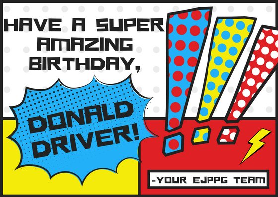 Happy Birthday to the one and only, Donald Driver! Your friends at EJPPG hope you have the best day.