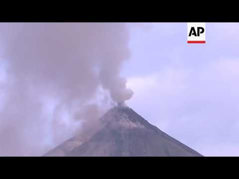 Plumes of smoke billowing from Mayon volcano in Philippines