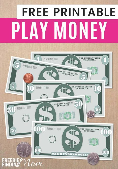 FREE Printable Play Money Template playmoney money fakemoney freebies freebiesforkids