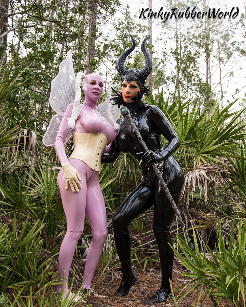 Leaficient and Lara as the lilac Rubber Fairy  Catsuits by 07BCSJ0DAt