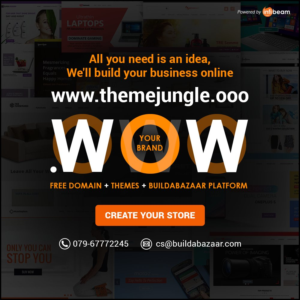 test Twitter Media - Create your own online store within 24 hours. #BuildaBazaar brings you #ThemeJungle, a collection of 100+ premium website templates. All the themes are fully responsive and SEO friendly. #infibeam #buildabazaarthemes #ecomercethemes #websitethemes https://t.co/StQkhKue0t