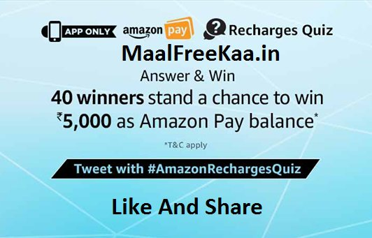 Recharge Quiz Time Answer & Win Rs 5000